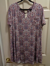 SOMA COOL NIGHTS S/S SLEEPSHIRT IN ANGELIC PAISLEY  SIZE XXL NEW