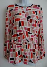 Ellen Tracy Women's Stretch Chalk Building Block Top Blouse Size Small