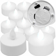 12 Qty COOL WHITE Flickering Flameless Battery Operated LED Tea Light Candles