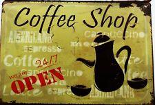 Caffetteria aprire il menu in metallo latta segni VINTAGE CAFE PUB BAR Garage Cucina Retrò