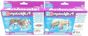 3D MotoKit Animals Series 1 Tiger & Elephant Wind-Up Toy Gearbox Included Age 6+