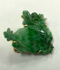 in 18kt Yellow Gold Medium-Green / White Estate Carved Jade Dragon Pin - Brooch