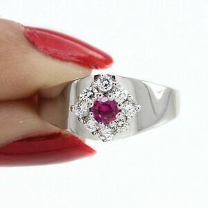 14K White Gold Over Round Cut Pink Sapphire Halo Engagement Ring $321.96