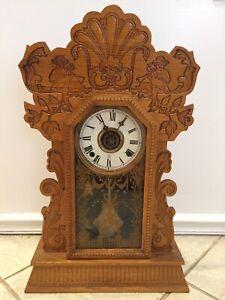Antique 1901 William L. Gilbert Gingerbread Navy 25 Mantle Clock Horn Blower