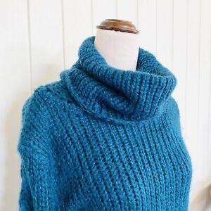 🌱 JAG Sz L Green / Blue Soft Snuggly Mohair Blend Chunky Knit Turtleneck Jumper