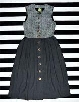 HAMMERSCHMID Women's Button Front Full Length Sleeveless Wool+Alpaca Dress 42