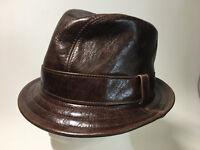 Jill Corbett Fedora Snatch hat choc brown eather Handmade S/M/L/XL/XXL/XXXL