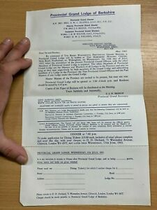 1983 MASONIC LETTER FROM PANGBOURNE LODGE (No.4381) IN BERKSHIRE