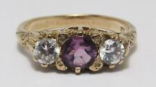 100% Genuine Vintage 9K Solid Yellow Gold 0.50cts Amethyst Filigree Ring Sz 6.5