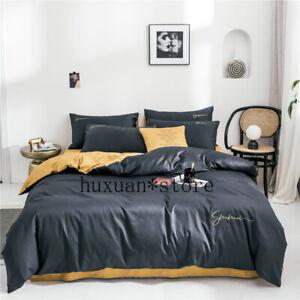 Light Luxury Egypt Cotton Two-tone Design Bedding Set Silky Duvet Cover Sheet