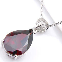 Handmade Jewelry Fire Red Garnet Red Kunzite Platinum Plated Necklace Pendants