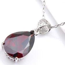 Wedding Teardrop Fire Red Garnet Gemstone Silver Necklace Pendant With Chain