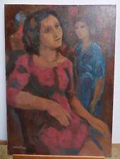 QUADRO DIPINTO OLIO su tela Figure Popolane MARIO CASTELLANI 50x70