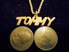bling gold plated casino name handle tommy pendant charm chain hip hop necklace