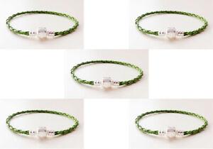 5PCS green Leather Bracelets Chain Bangle Fit European Charm Beads 20cm