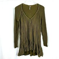 Free People Womens Small Oversize Ribbed Green Rayon Cotton Swing Tunic Dress