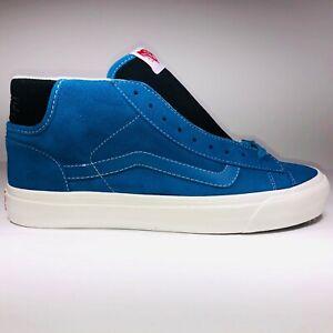 VANS OG Mid Skool Suede Blue Black White Sneakers Mens Size 9.5 VN0A3DP7UN3