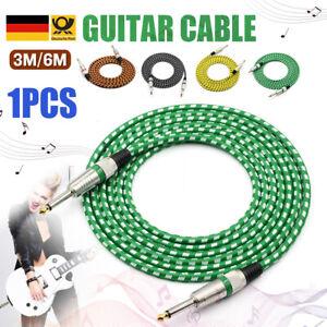 "Heiß 3M/6M Gitarre Kabel 1/4"" Bass E-gitarre Musikinstrument Kord - 4 Farbe"