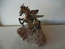 Vintage Solid Brass Winged Pegasus On Rock Ledge Door Stop
