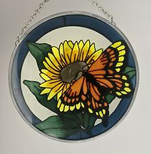 Vintage Amia Studios Fine Art Hand-Painted Stained Glass Butterfly Sunflower