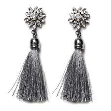 CHIC New Women Gray Rhinestone Long Tassel Dangle Earrings Fringe Drop Earrings