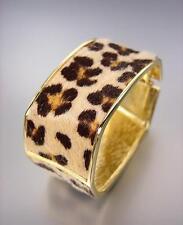 EXOTIC Rectangle Gold Metal Faux Leopard Fur Hinged Bangle Bracelet