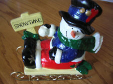 """CUTE LITTLE SNOWMAN ON A SLEIGH. (ADD IT TO YOU COLLECTION) 6 1/2"""" X 6 1/2"""""""