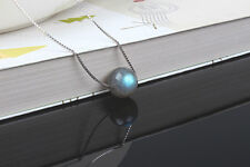 Collier Court Pendantif Perle Labradorite Argent Sterling Massif 925 Simple CY9