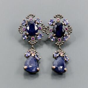 Vintage Blue Sapphire Earrings Silver 925 Sterling   /E52285