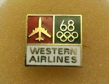 Vintage Western Airlines 1968 Olympic Lapel Tack Pin  RARE