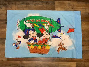 Vintage Disney Mickey Mouse Hot Air Balloon  Pillowcase Jimmy Cricket Chip Dale
