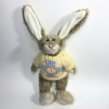 """Vintage Hugfun Jointed Easter Bunny Plush 12""""  With Yellow Purple Knit Sweater"""