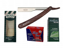 BARBER SALON STRAIGHT CUT THROAT WET SHAVING RAZOR SHAVER BLADES BRUSH & SOAP