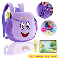 New Dora the Explorer Purple Plush Backpack with Map Stars Kids Girl Xmas Gift