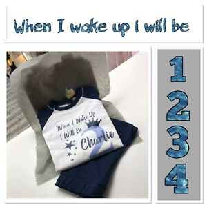 💙 personalised boy pyjamas When I Wake Up I Will Be 1 2 3 4 Years birthday  pjs