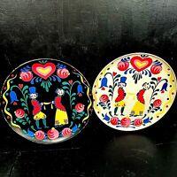 Two Vintage Metal Tole Trays PA Dutch Folk Art Serving Trays Barware Blk White
