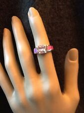Pink Topaz And Pink Opal Inlay Sterling Silver Ring Size 6