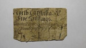 1754 Five Shillings North Carolina NC Colonial Currency Note Bill! 5s! RARE!