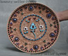 "11""Old Tibet Buddhism Filigree silver inlay turquoise coral gem Flower wall Than"