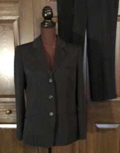 Anne Klein Black Broken Pinstriped Pant Suit 6/8