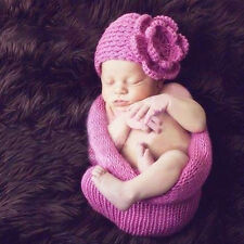 Newborn Baby Boy Girl Soft Wraps Cocoon Hat Set Photography Photo Prop Crochet