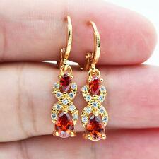 18K Yellow Gold Filled Elegant Women Teardrop Ruby Topaz Zircon Drop Earrings