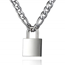 DIBOLA Padlock Necklace Stainless Steel Lock Chain for Men Women Silver 18 inch