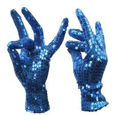 Gants enfants sequin brillants paillettes bleus fête costume déguisement