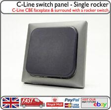 C-Line Electrics Light Switch Panel Single Rocker Silver Grey 1 Gang Motorhome