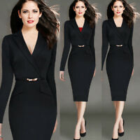Women's Elegant Bodycon Pencil Dress Suit collar Business Office OL Work Formal