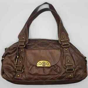Fossil 75082 Brown Quilted Leather HandBag Purse
