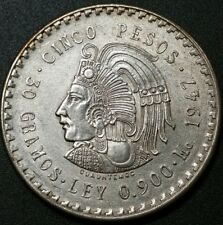 1947 Mexico Cinco Pesos Silver 5 Pesos Cuauhtemoc XF-AU 30 Grams .900 Nice Coin