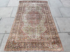 Antique Fine Hand made Traditional Persian Rug Oriental Silk Cream Rug 211x127cm