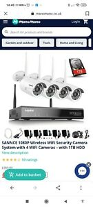 SANNCE Wireless WiFi 8ch NVR HD 1080p Outdoor CCTV Surveillance Camera 48WHE044…